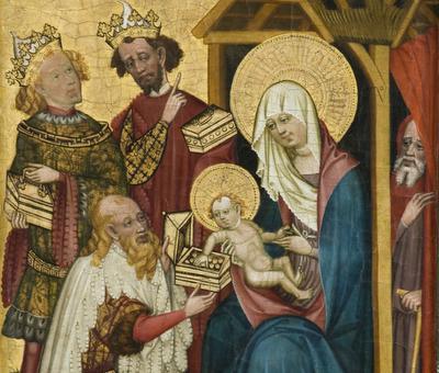 Els tres Reis Mags, fragment d'una taula, del segle XV, en una església de Rauschenberg Adoració reis mags Conrad von Soest (successor) Hesse 1401-1415