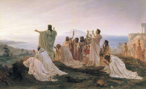 Saludar el sol a l'alba fou una pràctica popular fins ben bé el segle VIII. A la imatge, oli del pintor romàntic F. Bronnikov, Himne dels pitagòrics a la sortida del sol (1869)