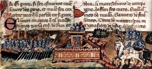 """El 1203 els cavallers francs posaren setge a la ciutat de Constantinoble, en el marc de la Quarta Croada, que agreujà de forma determinant les relacions entre la Cristiandat occidental i l'oriental. La il·lustració procedeix d'un manuscrit de factura veneciana de la """"Histoire de la conquête de Constantinople"""" de Godofreu de Villhardouin, ca. 1330."""