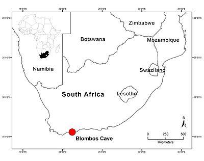 Blombos cova mapa